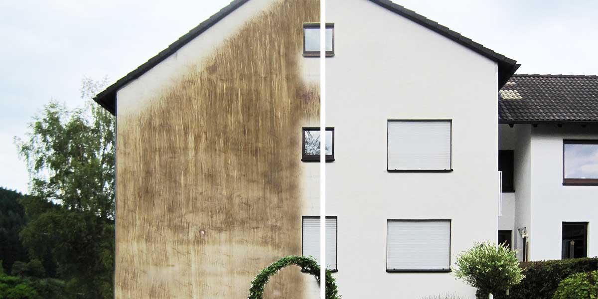 Fassadenreinigung - vorher / nachher
